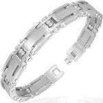 "Stainless Steel Silver-Tone Mens Link Bracelet, 8"""