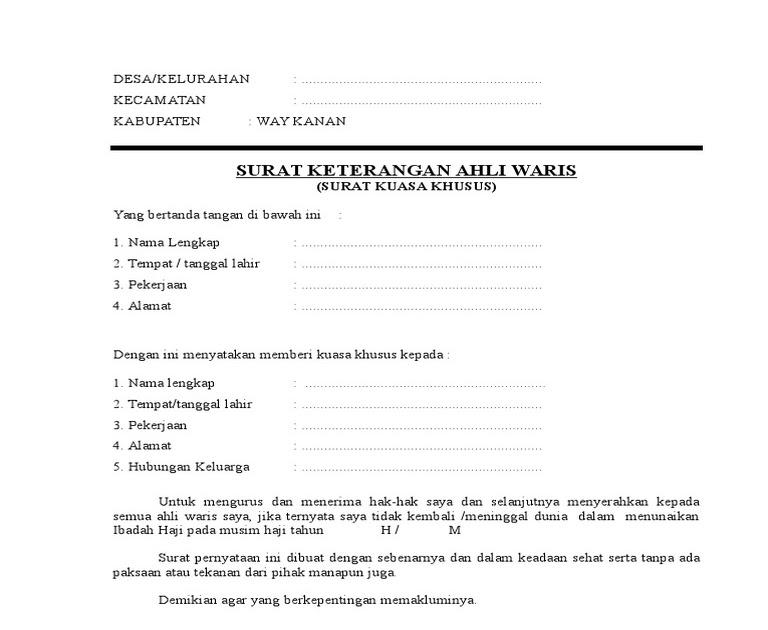 Contoh Surat Keterangan Ahli Waris Dari Kelurahan Dan ...