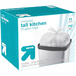 Tall Kitchen Flap-Tie Trash Bags - 13 Gallon - 110ct - Up&Up