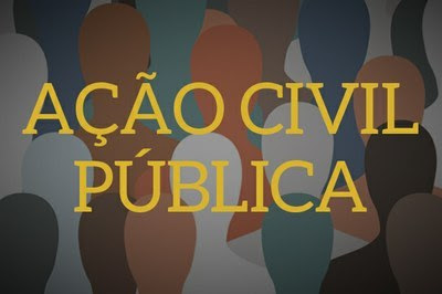"""Arte retangular, com fundo ilustrado por silhuetas de bonecos, de diversas cores, mostrando a diversidade da sociedade brasileira. Em primeiro plano, a expressão """"Ação Civil Pública"""" escrita em letras amarelas."""
