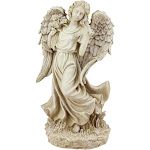 """17.5"""" Beige Angel with Bird and Bouquet Outdoor Patio Garden Statue by Christmas Central"""