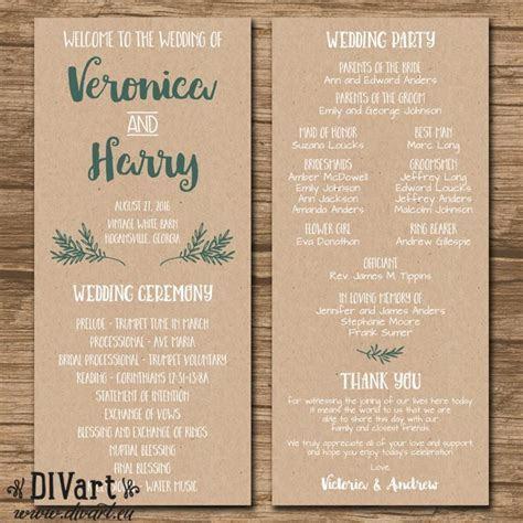 Rustic Wedding Program, Ceremony Program, Order Of Events