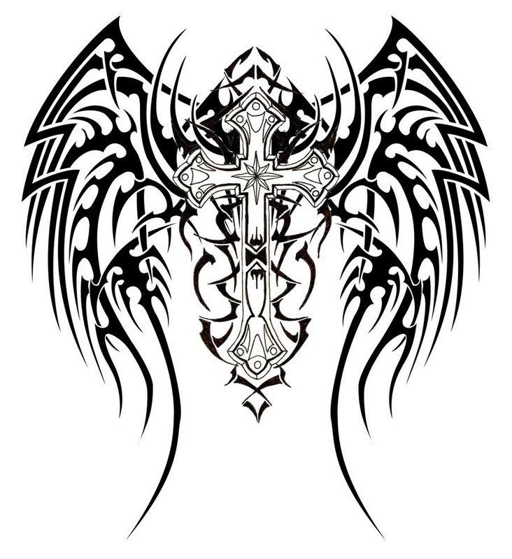 Pattern Tribal Cross Wings Tattoo Designs Tattoo Love