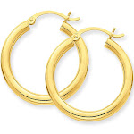 14K Yellow Gold 3mm Light Tube Hoop Earrings