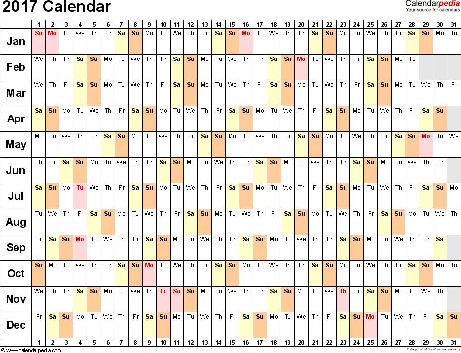 2017 calendar linear