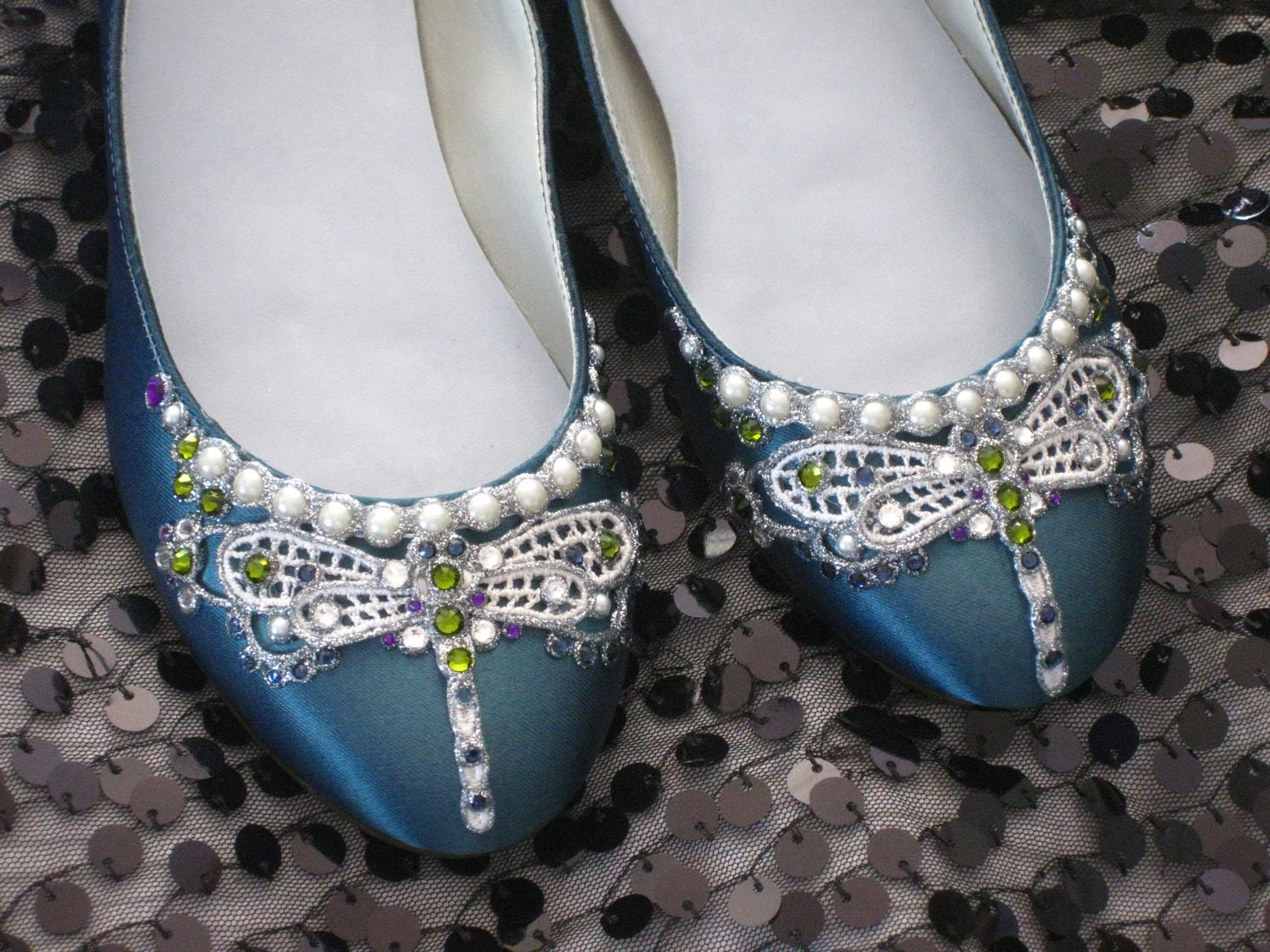 Art Deco Jewel Tone Dragonfly Ballet Flats Wedding Shoes - Any Size - Pick your own shoe color and crystal color