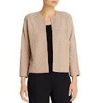 Eileen Fisher Womens Silk Blend Bracelet Sleeves Cardigan Sweater Tan