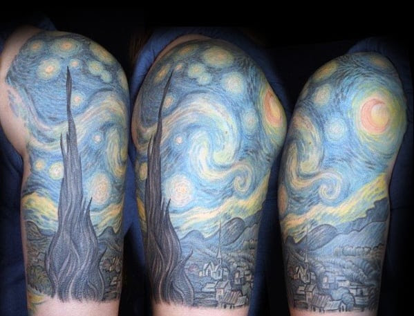 40 Starry Night Tattoo Designs For Men Painting Ink Ideas