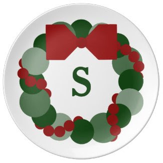Christmas Wreath with Monogram Holiday Party Plate Porcelain Plates