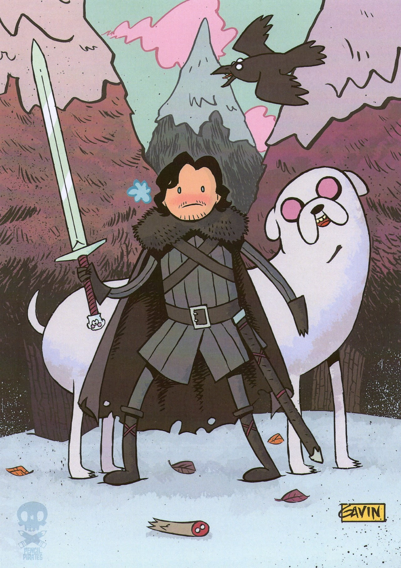 Awesome Game of Thrones / Adventure Time Artwork of Jon Snow and Ghost by TheNewsAtBen