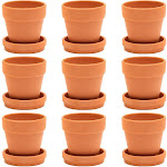 "9 Packs 3"" Terra Cotta Pots with Saucer, Mini Small Terracotta Flower Clay Pots Planters With Saucer Ceramic Pottery Nursery Indoor Outdoor Gardening"