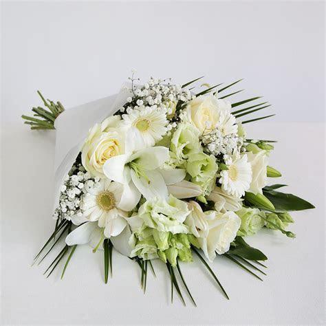 White Floral Sympathy Bouquet   White Lilies & Roses