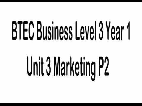 BTEC Business Level 3 Unit 3 Introduction To Marketing P2