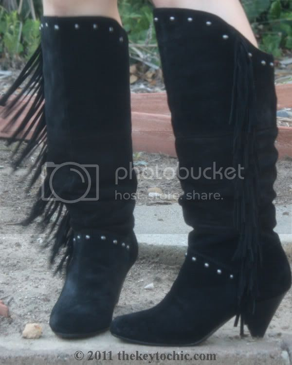 Report Enid fringe suede boots