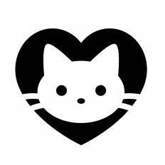 ハートと猫シルエット イラストの無料ダウンロードサイトシルエットac