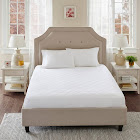 Sleep Philosophy All Natural Cotton Percale Quilted Mattress Pad with Spandex Snug-on Slip Fit Skirt - White Queen