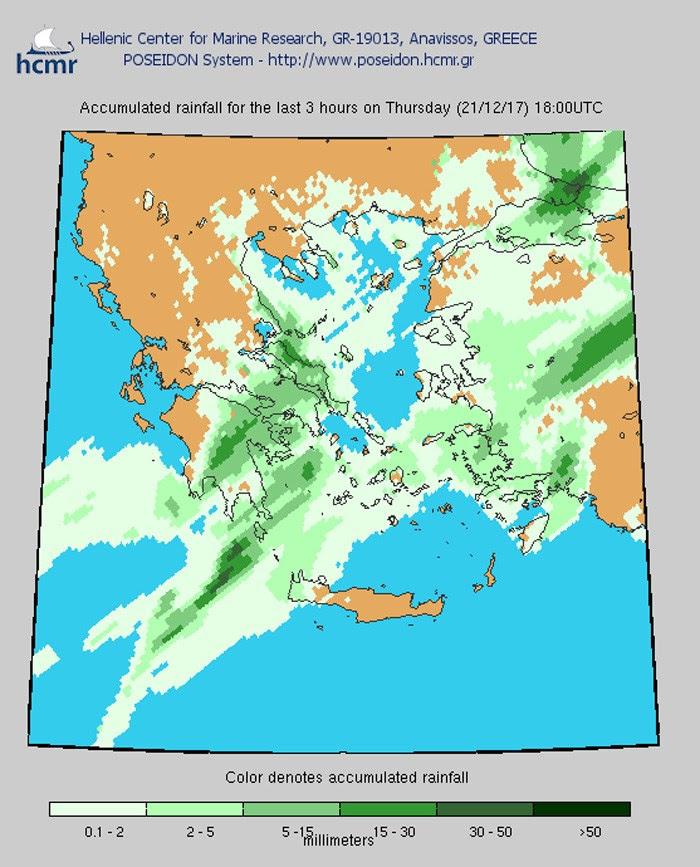 Το χρώμα δηλώνει το αθροιστικό ύψος της βροχόπτωσης (απόγευμα Πέμπτης)