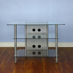 VTI AGR37S AGR Series 37 inch TV Stand (Silver Pole Clear Glass)