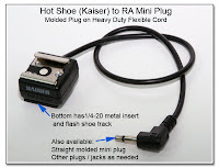 HS1001: Hot shoe adapter with attached molded right angle mini plug on heavy duty flexible cord