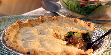 Sirloin Pepper Steak Pie with Spinach Salad Recipes | Food ...