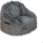 Faux Fur Structured Chair with Pocket Gray - ACEssentials