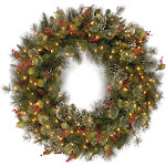 """National Tree 36"""" Wintry Pine Wreath with Clear Lights"""