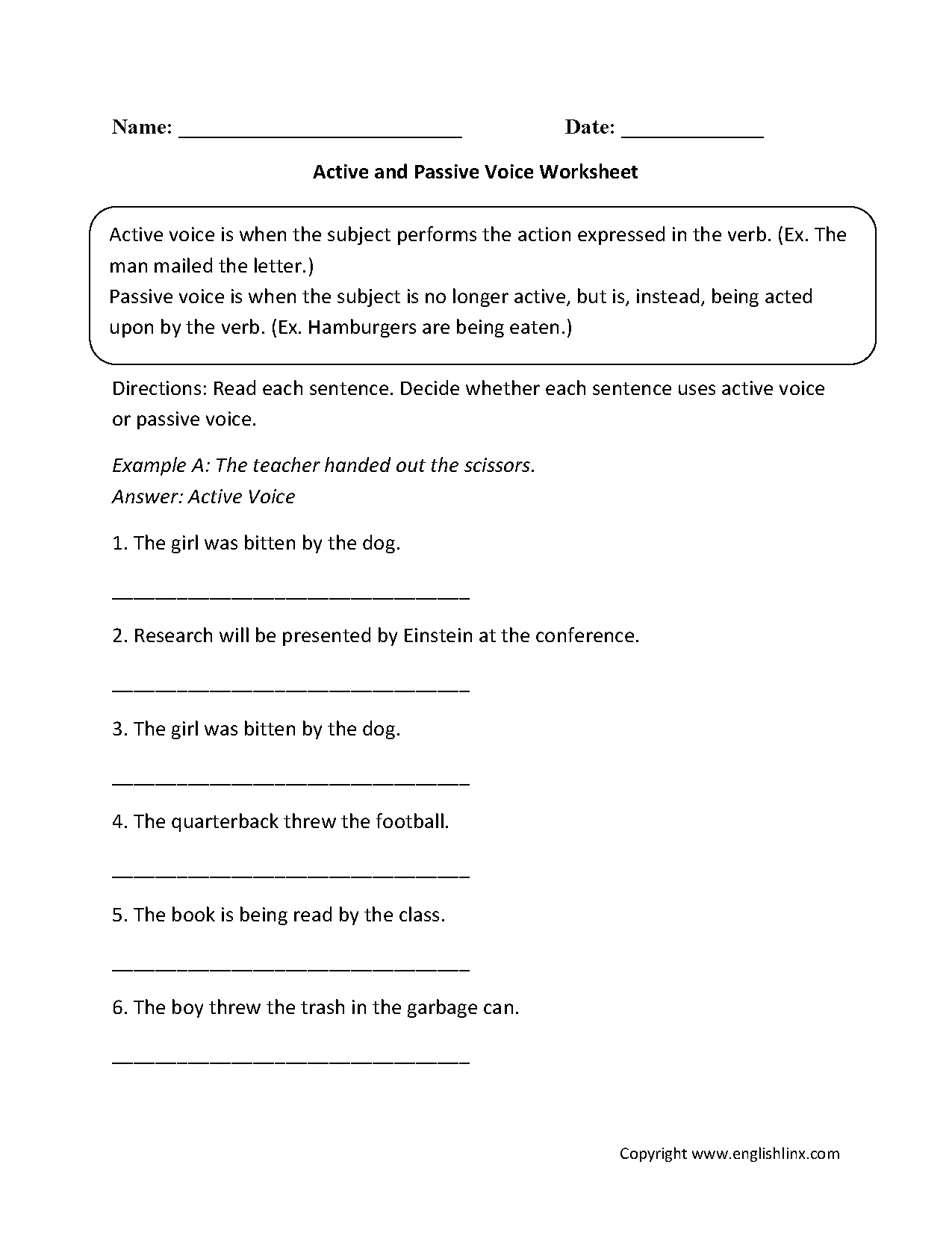 Englishlinx Com Active And Passive Voice Worksheets