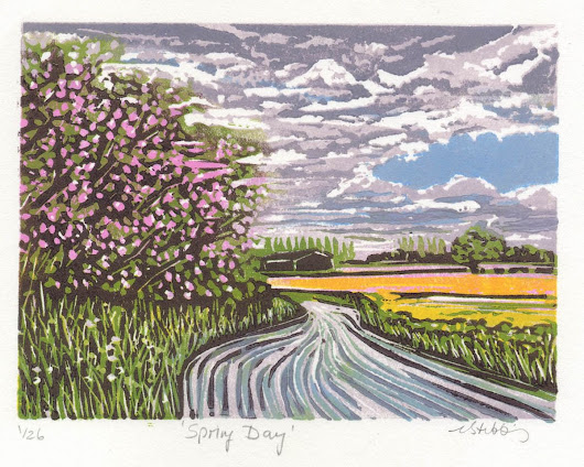 Spring Day (2017) Linocut by Louise Stebbing
