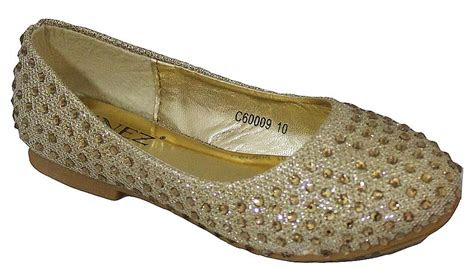girls gold sparkly glitter flat pumps ballerina evening
