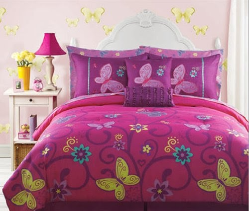 Save Pink Yellow Teal Butterfly Teen Girls Full Size
