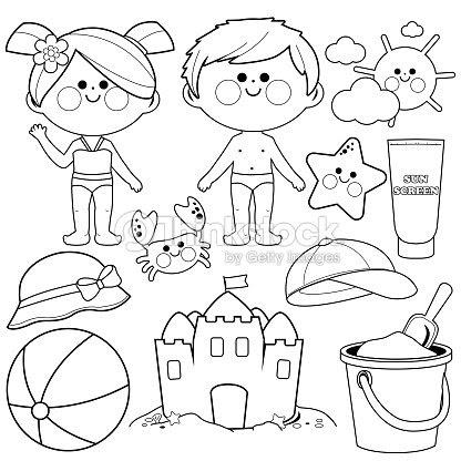 éléments De Design Enfants Avec Les Maillots De Bain Et Des Vacances