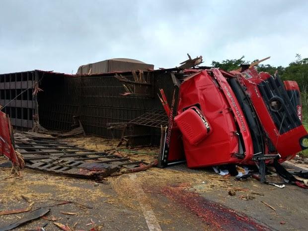 Caminhão boiadeiro tombou e arremessou condutor da cabine na BR-230 no MA (Foto: Divulgação/PRF)
