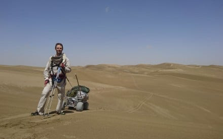 Rob Lilwall with his cart on a reconnaissance trip in Taklamakan, Xinjiang province.