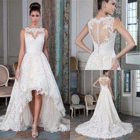 Plus Size Lace A Line Wedding Dresses 2016 High Low Court