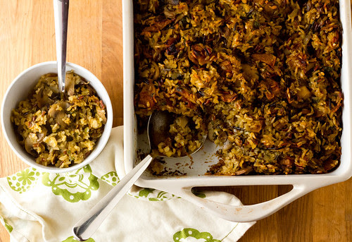 "Wild rice ""stuffing"" with caramelized onions, apples, and mushrooms"