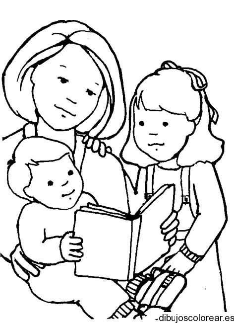 Dibujo De Mamá Leyendo A Los Niños