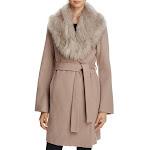 T Tahari Womens Flora Winter Wool Blend Wrap Coat Tan