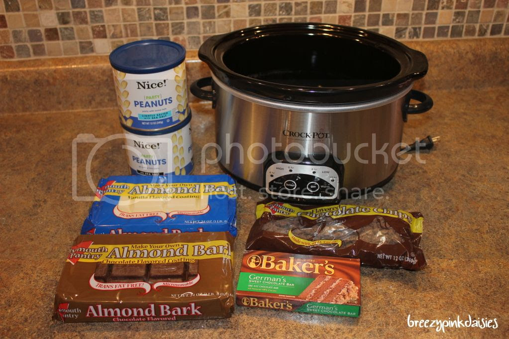 chocolate peanut clusters in a crockpot