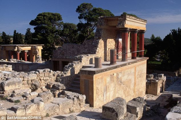 Minoan Palace Ruins at Knossos: The Minoan culture, Europe's first advanced civilisation, arose on the Mediterranean island of Crete in approximately the 27th century BC and flourished for 12 centuries