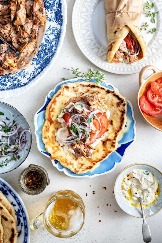 Greek lamb gyros with homemade pita and tahini yogurt sauce - Supergolden Bakes