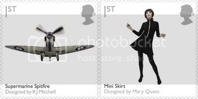 Supermarine Spitfire and Mini Skirt: Design Stamps by Royal Mail
