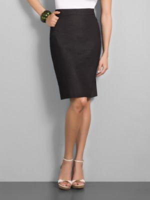 New York & Company Women's City Stretch Zip Pocket Print Pencil Skirt - Black