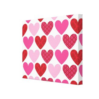 WALL DECOR :: damask hearts 1 wrappedcanvas