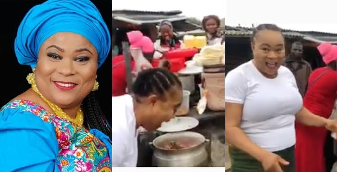 Nollywood Actress, Sola Sobowale Papped Buying Beans And Bread At A Street Canteen