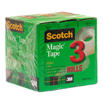 """Scotch Cabinet Pack Magic Tape - 0.75"""" Width X 83.33 Ft Length - 1"""" Core - Writable Surface, Photo-safe - 3 / Pack - Clear (810k3)"""
