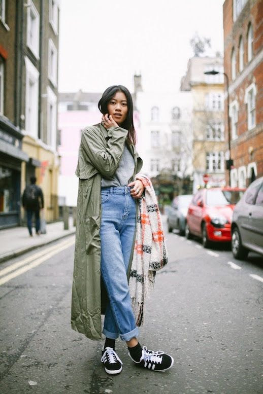 Le Fashion Blog 25 Ways To Wear Adidas Sneakers Green Trench Coat High Waist Boyfriend Jeans Gazelle Via I Dress Myselff