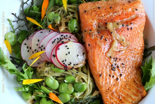 Green Tea Soba Noodles with Soy-Roasted Salmon and Broad Bean & Radish Salad 3