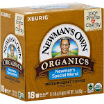 Newmans Own Organics Coffee, Medium Roast, Newman's Special Blend, K-Cup Pods - 18 pack, 0.40 oz pods