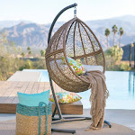 Outdoor Belham Living Tanna Tear Drop Resin Wicker Hanging Egg Chair with Cushion and Stand