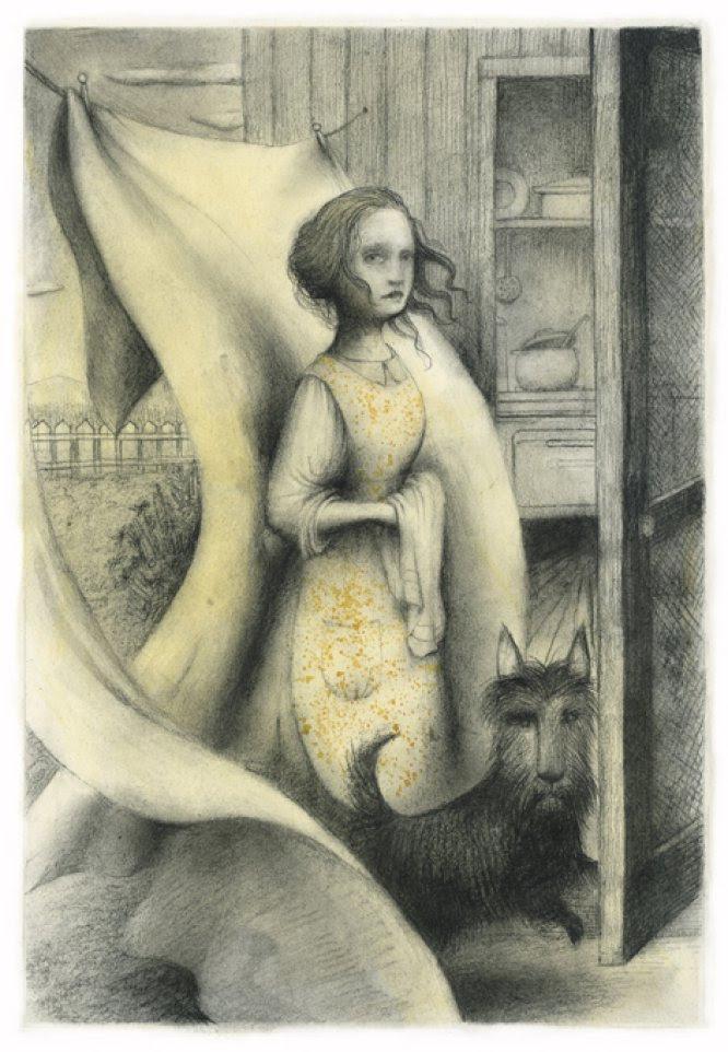 Ana Juan, premio Nacional de Ilustración en 2010, pensó mientras leía el relato de King, que era muy apropiado que la forma y aspecto del libro se asemejase a una Biblia, con las cubiertas en negro. En la imagen, la madre de Gary, el niño protagonista del cuento de King, junto al terrier negro de la familia. En esta narración King utiliza elementos de la literatura infantil clásica, como el incumplimiento de una prohibición, en este caso no adentrarse más allá de la bifurcación del río. Traspasar ese lugar solo puede traer desagradables consecuencias al protagonista de la historia.